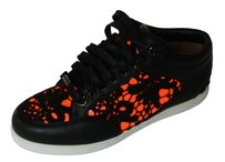 Jimmy Choo Sneakers Flats Lace Up Black White Neon pink Athletic