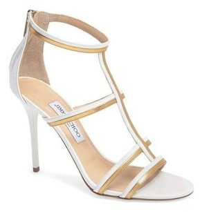 Jimmy Choo T Strap B High Heels White Sandals