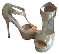 Jimmy Choo Taupe Patent Leather Wedges