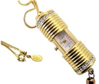 Joan Rivers Vintage 90's Signed Joan Rivers Slide Open Pendant Watch on Chain