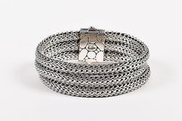 John Hardy John Hardy Sterling Silver Three Row Textured Wheat Chain Bracelet