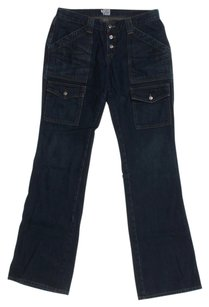 Joie Extra Pockets Signature Buttons Gold Stitching Boot Cut Jeans-Dark Rinse