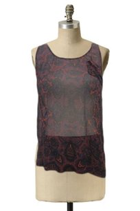 Joie Boat Neck Sheer Abstract Print Sleeveless Top Black