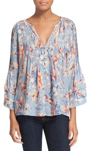 Joie Clausen Floral Silk Top Blue