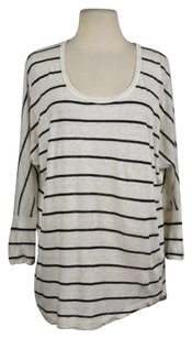 Joie Womens Striped Crew Neck Batwing Casual Shirt Linen Sweater