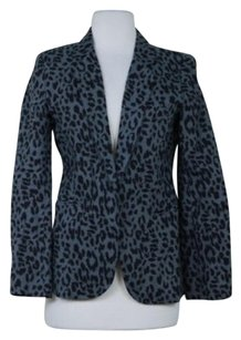 Joie Joie Womens Gray Black Animal Print Blazer Med Linen Jacket