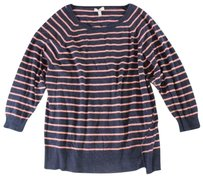 Joie Navy Peach Striped Paz Sweater