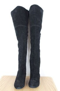Joie Womens Solid Suede Over Knee Height Black Boots