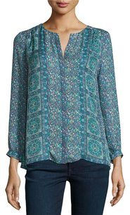 Joie Pazima Silk Floral Top Blue