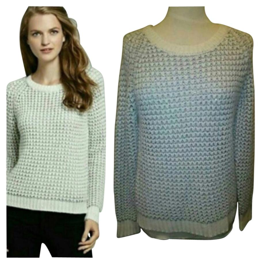 Joie sweater Ivory , creamy super soft ...metallic silver color & creams . Flattering on any skin tone