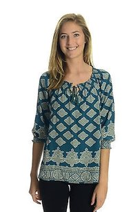 Joie Priscelle Shirred Neck Top Blue