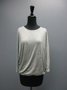 Joie Soft Banded Bottom Dolman Sleeve Crew Neck Solid Sm10224 Top Gray