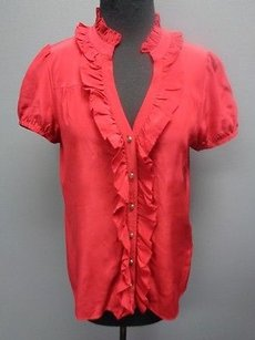 Joie Crimson Silk Short Sleeve Ruffle Front Button Down Sm2380 Top Red