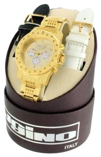 JoJino 1 Carat Genuine Diamond Watch For Men Yellow Gold Finish Over Stainless Steel
