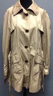 Jones New York Nylon Blend Front Button Casual Sm5193 Beige Jacket