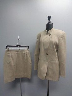 Jones New York Jones York Beige And Black Wool One Button Jacket Skirt Suit Sma5646