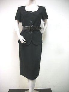 Jones New York Jones York Black Garden Party Piece Suit Skirt Belted Jacket