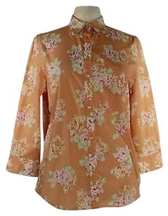 Jones New York Womens Orange Top Multi-Color