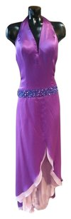 Jovani Halter Drop Waist Party Prom Beaded Satin Dress