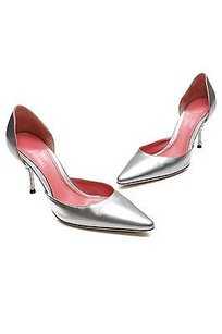 Judith Leiber Metallic Silver Pumps