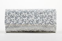Judith Leiber Wedding White Silver Clutch