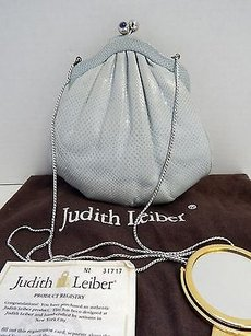 Judith Leiber Light Karung Lizard Leather Lapis Kisslock Evening Sho Blue Clutch
