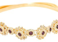 Judith Leiber Judith Leiber Vintage Crystal Red Gemstone Gold Slinky Designer Stretch Belt Sm