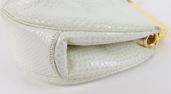 Judith Leiber Authentic Lizard Clutch With Stones White 74