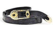 Judith Leiber Vintage Judith Leiber Black Croc Leather Gold-tone Buckle Stone Belt