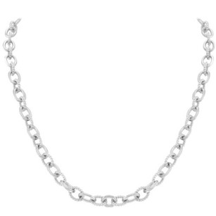 Judith Ripka Judith,Ripka,925,Sterling,Silver,Textured,Polished,Links,Womens,Necklace
