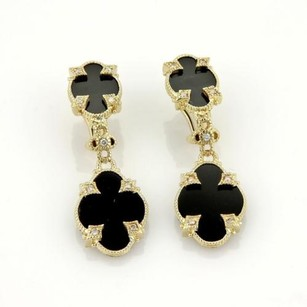 Judith Ripka Judith Ripka 14k Yellow Gold Diamonds Onyx Fancy Drop Dangle Earrings