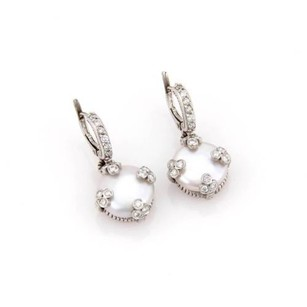 Judith Ripka Judith Ripka 18k White Gold Coin Pearl Diamond Drop Earrings
