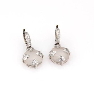 Judith Ripka Judith Ripka 18k White Gold Rock Crystal Diamond Drop Earrings