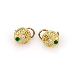 Judith Ripka Judith Ripka 18k Yellow Gold Diamond Emerald Cabochon Disc Earrings