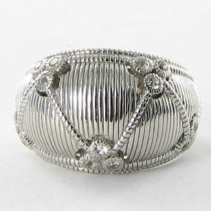 Judith Ripka Judith Ripka Dome Band Gothic Ring 925 Silver White Sapphires