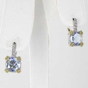 Judith Ripka Judith Ripka Linen Blue Quartz Earrings 0.32cts Diamonds 18k Y G 925