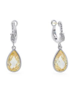 Judith Ripka JUDITH RIPKA MARINA SILVER CANARY CRYSTAL SAPPHIRE DROP EARRINGS