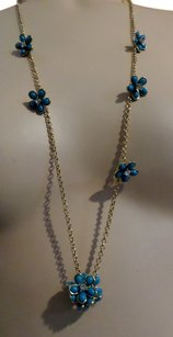 Juicy Couture Juicy Couture Flower Station Strand Gold Necklace- Blue