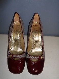 Juicy Couture Patent Leather Toe Plaid Blue Heels B3005 Red Brown Tan Pumps