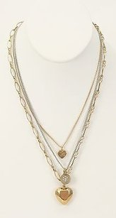 Juicy Couture Juicy Couture 16 Gold Silvertone Chain Charms Heart Pendant Necklace Bj12