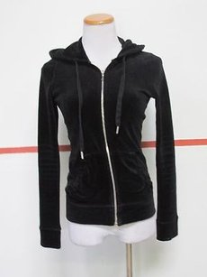 Juicy Couture Juicy Couture Black Velour Long Sleeves Full Zip Front Hooded Jacket C397