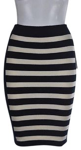 Juicy Couture Womens Ivory Striped Pencil Wool Knee Length Skirt Multi-Color