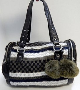 Juicy Couture Leather Knit Satchel in Black