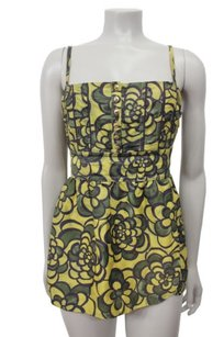 Juicy Couture Yellow Floral Fit Flare Tank Tie Back Tunic