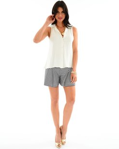 Julie Brown Cabo Navy Sailor Stripe Shorts Black white