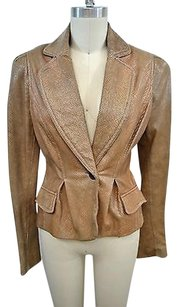 Just Cavalli Snakeskin Embossed Leather One Button Blazer Tan Jacket