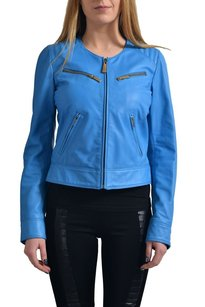 Just Cavalli Leather Blue Jacket