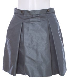 Just Cavalli Structured Pleated Pockets Monogram Mini Skirt Grey