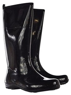 Kamik Womens Knee High Rain Casual Rubber Black Boots