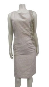 Karen Zambos Cyd Metallic Sheath Dress